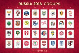 Плакат с составами групп на чемпионат мира по футболу 2018 года