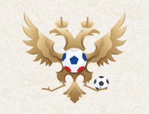 Герб Российской федерации с футбольным мячом.