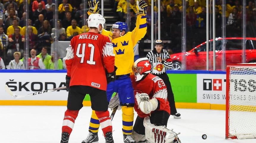 Финальный матч Чемпионата мира по хоккею между Швецией и Швейцарией
