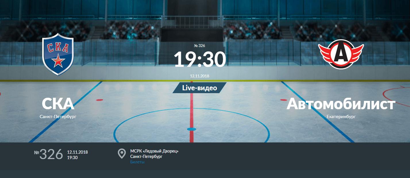 прогнозы игры СКА — Автомобилист 12 ноября 2018 года чемпионат КХЛ