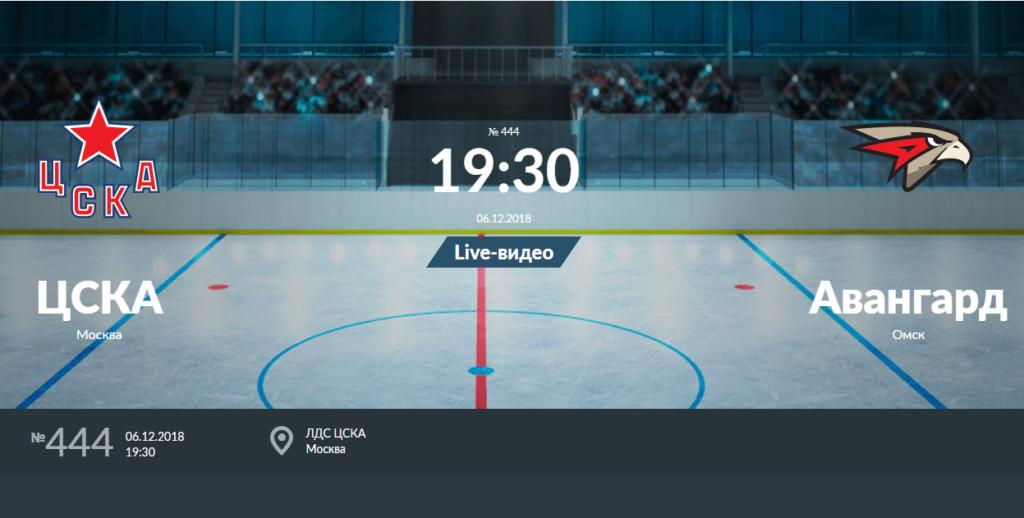 ЦСКА — Авангард 6 декабря 2018 прогноз на исход игры