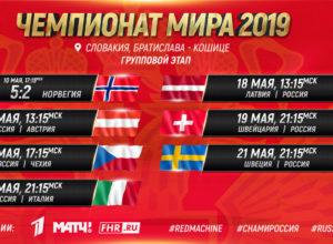 Календарь трансляций сборной России на ЧМ-2019