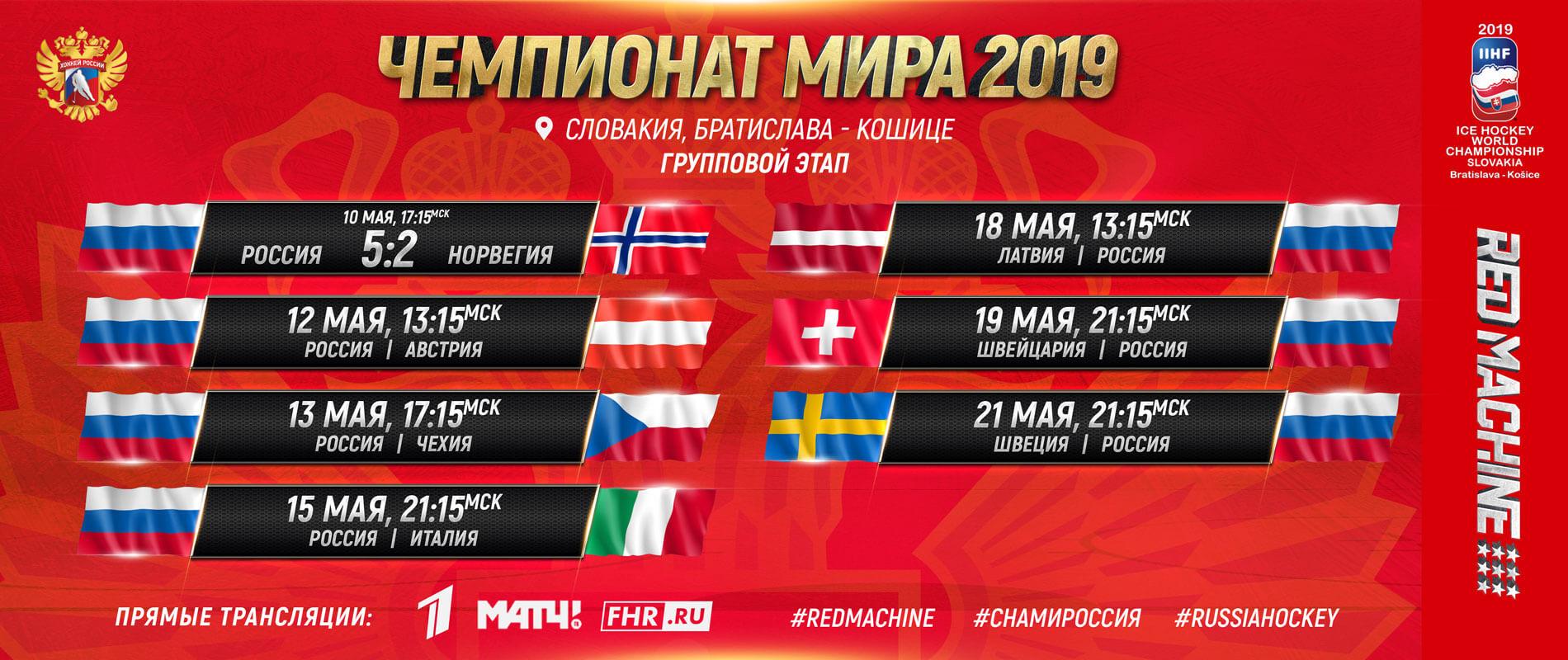 Плакат расписание матчей сборной России по хоккею на ЧМ-2019