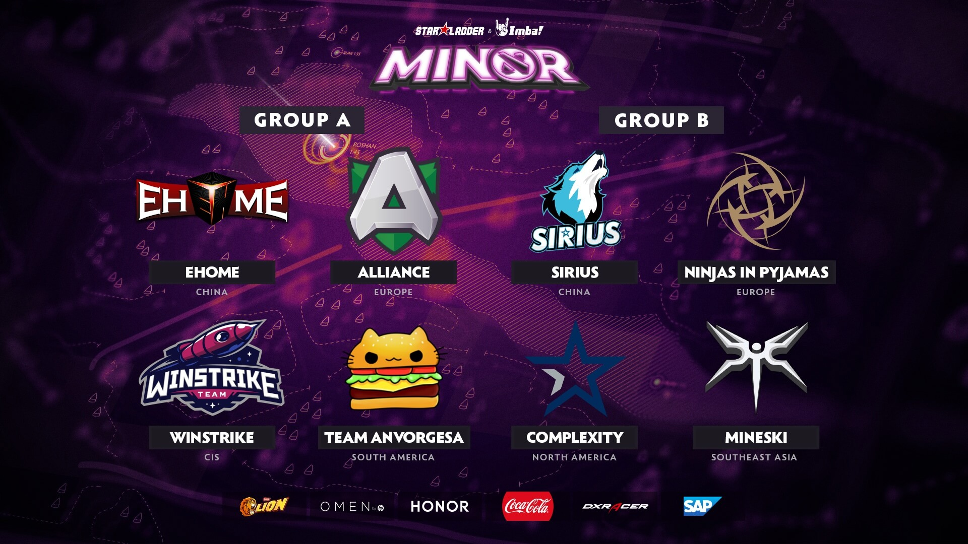 StarLadder ImbaTV Dota 2 Minor распределение команд по группам