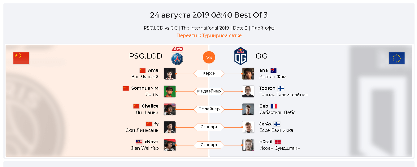 PSG.LGD — OG 24 августа 2019